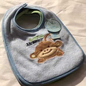 5 pk BIBS terry cloth cotton blend solids & monkey